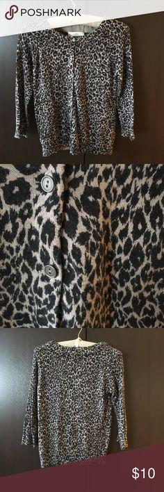 LOFT wide neck leopard print cardigan LOFT wide neck leopard print cardigan LOFT Sweaters Cardigans