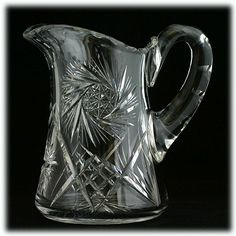 American Brilliant Cut Glass Pitcher Antique Crystal Pinwheels Stars 1890s