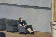 """Intermission"" by Edward Hopper, 1963 - Oil on Canvas: ""Hopper came up with the idea for Intermission while he was watching a movie... A surviving preparatory sketch for the painting reveals that he considered including another figure in the third row. In an interview he revealed, 'There's half another person in the picture.' The final composition depicts a solitary woman in a theater, sitting alone in the first row of a side aisle."""