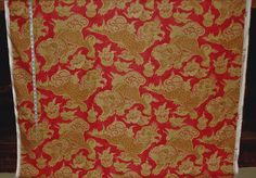 Asian Oriental dragon fabric Foo Dog lion pink red gold from Brick House Fabric: Novelty Fabric