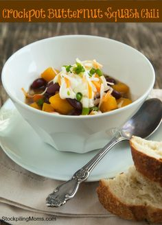 Crockpot Butternut Squash Chili recipe is an amazing freezer meal and good for you too! Perfect for the fall, crisp weather.