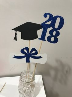 Excited to share the latest addition to my #etsy shop: Graduation party decorations 2018 Graduation Centerpiece Sticks, Grad ,Cap ,Diploma , class of 2018, graduation decorations, prom 2018