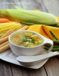 Sweet Corn and Vegetable Soup recipe, Vegetarian Sweet Corn Soup Vegetarian Soup, Healthy Soup, Vegetarian Recipes, Cooking Recipes, Healthy Recipes, Healthy Muffins, Corn Soup Recipes, Vegetable Soup Recipes, Food Trucks
