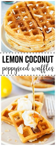 Lemon Coconut Poppyseed Waffles: the perfect blend of sweetness and lemon flavor! These waffles are great for a family breakfast or to serve at a ladies brunch! Breakfast Waffles, Pancakes And Waffles, Best Breakfast, Breakfast Time, Brunch Recipes, Breakfast Recipes, Dessert Recipes, Breakfast Ideas, Easy Recipes