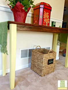 An unfinished console table gets finished with a mix of English Yellow and Old White Chalk Paint® decorative paint by Annie Sloan Diy Furniture Projects, Cheap Furniture, Painted Furniture, Diy Projects, Luxury Furniture, Annie Sloan Chalk Paint Table, Annie Sloan Paints, Yellow Chalk Paint, Yellow Table