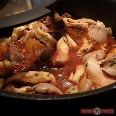 Laskagomba pörkölt recept Chicken, Meat, Food, Beef, Meals, Yemek, Cubs, Eten