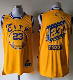 Men s Golden State Warriors Draymond Green Retro Yellow 2016 The NBA Finals Patch  Jersey 2ef347e70