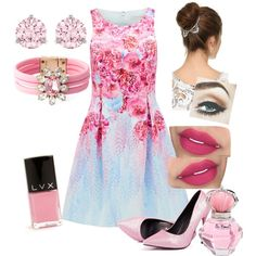 pretty in pink by maritpolaris on Polyvore featuring polyvore fashion style Forever New SHOUROUK Swarovski Lelet NY