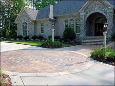 Brick, Circle Concrete Driveways QC Construction Products Madera, CA Stamped Concrete Driveway, Concrete Driveways, Cobblestone Driveway, Gravel Driveway, Walkway, Exposed Aggregate Driveway, Circle Driveway, Outdoor Fireplace Patio, Brick Edging