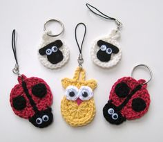 PDF PATTERN keyring animals : sheep, ladybird and owl, crochet, googly eyes, cute, uk and us crochet terms No7. €3.75, via Etsy.
