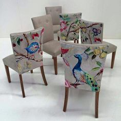 Love the creative fabric choice on the backs of these dining chairs! is part of Upholstered dining chairs - Funky Furniture, Furniture Makeover, Painted Furniture, Upholstered Furniture, Upholstered Dining Chairs, Reupholster Dining Chair, Dinning Chairs, Lounge Chairs, Dining Room