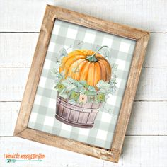 These Six Fall Farmhouse Printables come in two watercolor looks: neutral and green buffalo check. Perfect for your autumn decor. Pumpkin Pictures, Fall Pictures, Free Printable Art, Free Printables, Free Stencils, Frame Crafts, Autumn Art, Fall Diy, Diy Halloween Decorations