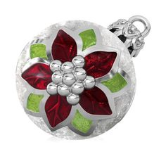 7b6aacce7 Poinsettia Christmas Tree Ornament Luxe Color™ Enamel Bead Charm -  Traditional 2