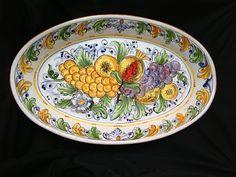 Large Sicilian ceramic oval serving platter