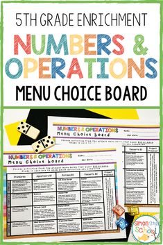 This enrichment menu project is an amazing differentiation tool that not only empowers students through choice but also meets their individual needs.You will find that the numbers and operations enrichment board contains three leveled activities for each standard: appetizer, entrée, and dessert. No two activities are alike! 5th grade students will enjoying mastering common core standards with choice. #studentchoice #5thgrademath #numbersandoperations