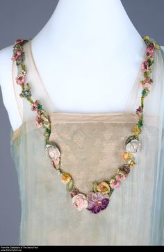 Evening Dress, Worn by Elizabeth Parke Firestone, 1924 Silk Flowers, Fabric Flowers, Couture, Ribbon Art, Ribbon Flower, Passementerie, Silk Ribbon Embroidery, Fabric Jewelry, Historical Costume