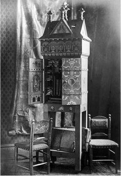 """William Burges, """"Architecture Cabinet,"""" 1858. Probably National Museum of Wales. Photograph:  William Burges """"Photographs: Own Furniture"""" RIBA Special Collections. See Crook, 320."""