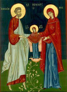 Anna & the Theotokos (Romanian) Religious Icons, Religious Art, Mama Mary, Santa Ana, Catholic Kids, St Anne, Orthodox Icons, Patron Saints, Mother Mary