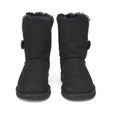 UGG Women's Bailey Button Sheepskin Boots - Black ($145) ❤ liked on Polyvore featuring shoes, boots, ankle booties, flat ankle booties, flat boots, fold over booties, fold-over boots and flat booties