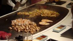 #DisneyDining #Epcot Meals at Teppan Edo are prepared on a hibachi grill where chefs are always happy to put on a show.