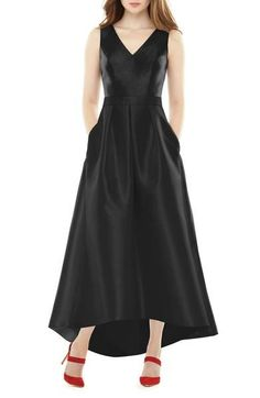 Subtly lustrous sateen twill illuminates the contemporary high/low silhouette of a sleeveless V-neck gown fitted with princess seams, a belted natural waist and full, pleated skirt.