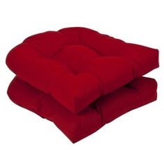 Amazon.com: Pillow Perfect Outdoor Red Solid Wicker Seat Cushions, 2-Pack: Home & Kitchen