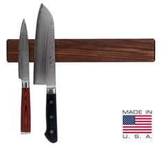 Walnut Magnetic Knife Holder with Multi Purpose Functionality. Multi-purpose magnetic strip. Made in the USA. American-made kitchen product. (affl-link)