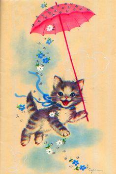 vintage kitty illustration - oh my god so cute Vintage Pictures, Vintage Images, Illustrations, Illustration Art, Art Carte, Image Chat, Cat Cards, Vintage Cat, Retro Vintage
