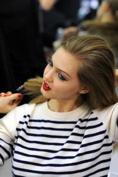 lindsey wixson in stripes with red lipstick