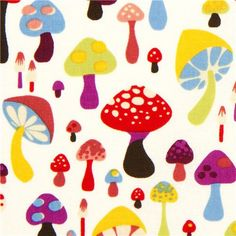 off-white Alexander Henry fabric with colourful mushrooms