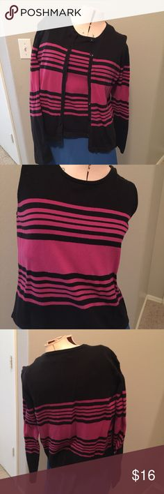 Style & Co. Sweater set Pink and black striped sweater set by Style & Co. Has been previously loved, and is still in good condition. 8 buttons down front. Can be worn open or closed. Sleeveless sweater top underneath. Very comfortable and can be worn to work or a day or night out too. Style & Co Sweaters
