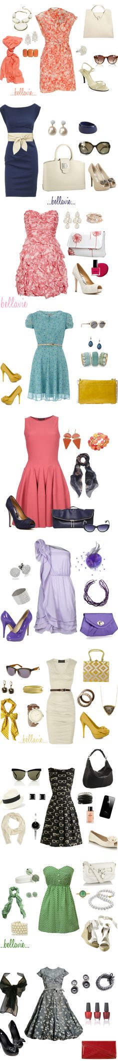 Take a look at all these cute outfits created by Polyvore member bellaviephotography! She's great at pairing pretty #dresses with the perfect #heels and #bags.  Created on Polyvore