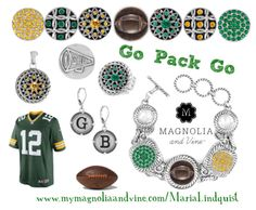 Support your favorite football team with Magnolia & Vine Jewelry, Accessories and Snaps! www.MyMagnoliaAndVine.com/MariaLindquist