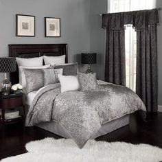 Shop for Intelligent Design Khloe Grey/ Silver Metallic Printed Duvet Cover Set. Get free delivery On EVERYTHING* Overstock - Your Online Fashion Bedding Store! Get in rewards with Club O! Master Bedroom, Bedroom Decor, Bedroom Ideas, Glam Bedroom, Bedroom Inspiration, Master Suite, Silver Bedroom, Bedroom Makeovers, Bedding Decor