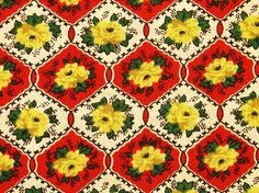 Vintage 1940s quilt fabric in highquality unused cotton with printed yellow rose pattern on red/ white hexagon bottomcolor
