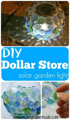 DIY solar garden globe light you can make for less than three dollars. Add a little glow to your yard with this easy to make solar garden light.