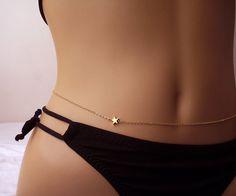 Kleine Sterne Bauch Kette Body Jewelry Gold Star von foressti
