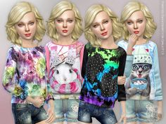 Printed Sweatshirt for Girls Found in TSR Category 'sims 4 Female Child Everyday' Sims 4 Tsr, Sims 4 Cc Kids Clothing, Sims 4 Children, Sims 4 Cc Shoes, Sims 4 Cc Makeup, Sims4 Clothes, Sims 4 Cc Skin, Sims 4 Update, Sims 4 Cc Finds