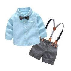 Baby Boys Clothing Sets Fashion Baby Boy Suits Formal Gentleman Shirt Suspender Short Pants Formal Wedding Outfits Set For Part Boys Summer Outfits, Toddler Outfits, Baby Boy Outfits, Baby Boy Suit, Baby Boy Romper, Baby Boys, Baby Dress, Striped Long Sleeve Shirt, Long Sleeve Shirts