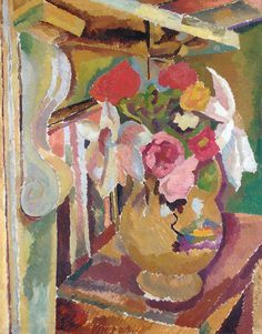 Vase of Flowers by Duncan Grant, one of the Bloomsbury set and sometime lover of Vanessa Bell. IMO, this is his best painting. Duncan Grant, Vanessa Bell, Virginia Woolf, Bell Art, Bloomsbury Group, Les Oeuvres, Still Life, Oil On Canvas, British Museum