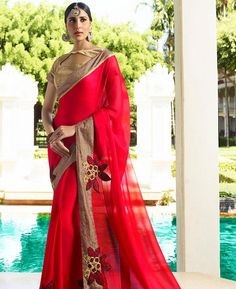 Check out the online collection of Sarees in the Catalog 7603 at Indian Cloth Store. Get Catalog 7603 of Sarees in various designs, colors & sizes. Chiffon Saree, Georgette Sarees, Sarees Online India, Plain Saree, Indian Bridal Fashion, Vogue India, Casual Saree, Designer Sarees Online, Online Collections