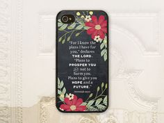 Christian cell phone case, iPhone 4 4S, iPhone 5 5S, iPhone 5C, Samsung Galaxy S3, Samsung Galaxy S4, Galaxy S5, Bible verse, Jeremiah 29:11,