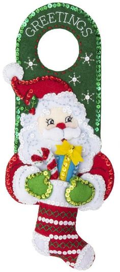 Bucilla Christmas Greetings Santa Snowman Door Hanger Felt Wall Craft Kit 89286E