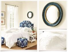 white bedding with blue ikat print headboard