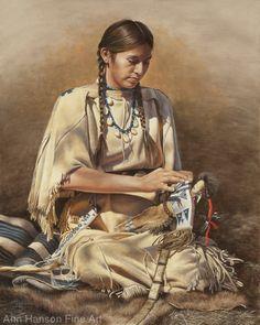 Dollmaker by Ann Hanson Oil ~ 20 x 16 Native American Face Paint, Native American Paintings, Native American Pictures, Native American Beauty, Indian Pictures, American Indian Art, Indian Paintings, Native American Indians, Native Indian