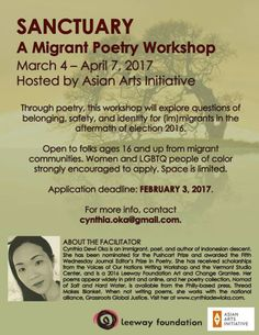 First Friday Roundup! - http://ehood.us/4db     8:00 am      Sanctuary: A Migrant Poetry Workshop     February 3 @ 8:00 am – 11:00 pm  UTC-5   Asian Arts Initiative,1219 Vine Street Philadelphia, PA 19107 United States         Sanctuary: A Migrant Poetry Workshop Led by Cynthia Dewi Oka Saturdays, March 4 – April 7 Time: TBD APPLICATION DEADLINE: February 3 This workshop will explore questions of belonging, safety, and identity for (im)migrants in the aftermath of el