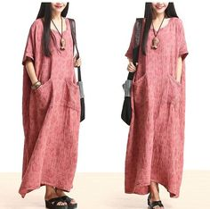 Plus Size Cotton Linen Maxi Dress Loose Fitting Bat Sleeve Summer Dres – Tkdress