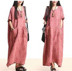 Plus Size Cotton Linen Maxi Dress Loose Fitting Bat Sleeve Summer Dres – Tkdress