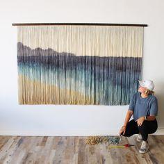 Yarn Wall Art, Diy Wall Art, Wall Decor, Macrame Wall Hanging Diy, Hanging Tapestry, Green Bedroom Decor, Wall Accessories, Macrame Design, Ocean Art