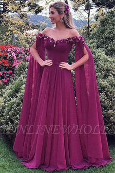 Romantic Tulle & Chiffon Off-the-shoulder Neckline Full Length A-line Evening Dress With Handmade Flowers & Belt - Prom Dresses Design Stylish Dresses, Elegant Dresses, Pretty Dresses, Sexy Dresses, Beautiful Dresses, Fashion Dresses, Prom Dresses, Formal Dresses, Wedding Dresses